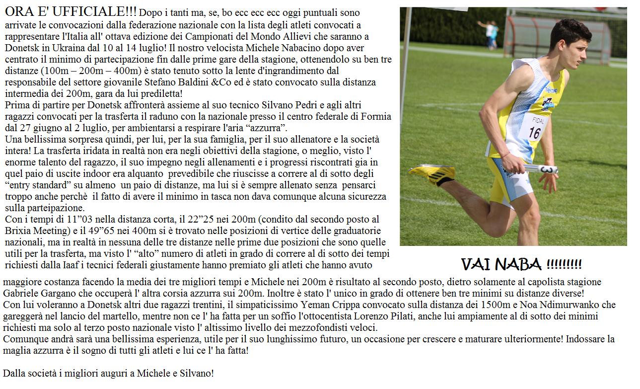 MICHELE NABACINO AI MONDIALI DI DONETSK: