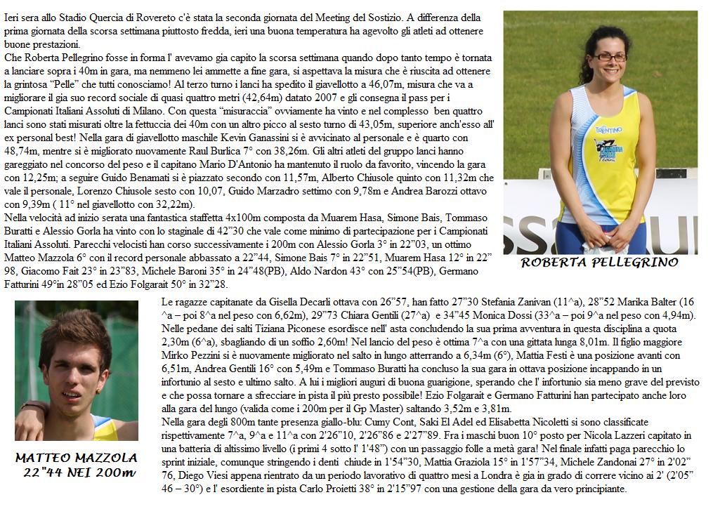 RECORD SOCIALE PER ROBERTA PELLEGRINO CON 46,07m NEL GIAVELLOTTO: