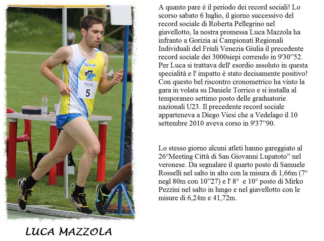 LUCA MAZZOLA AL RECORD SOCIALE DEI 3000siepi: