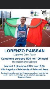 La comunità di Villa Lagarina riceve il Campione Europeo Lorenzo Paissan