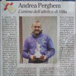 """ANDREA PERGHEM """"Volontario dello Sport"""" del Comune di Villa Lagarina"""